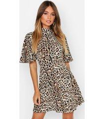 luipaardprint skater jurk met hoge hals, luipaard