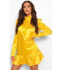 gesmokte jurk met satijnen pofmouwen met gekleurde dieren, mosterd