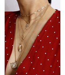 collar muti-capa de cuatro puntas vintage dorado