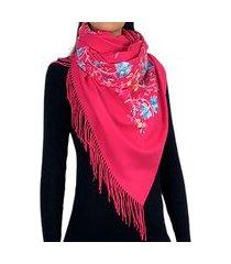 cachecol bordado rosa