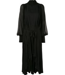 ann demeulemeester chiffon blouson dress - black