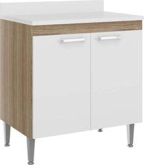 balcão cooktop de 80 cm multimóveis toscana 5022 argila/branco com tampo branco e 2 portas