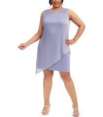 connected plus size metallic pleated-overlay dress