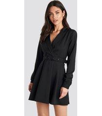 na-kd party blazer belted mini dress - black