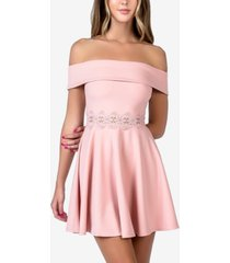 b darlin juniors' off-the-shoulder a-line dress