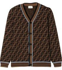 fendi brown cardigan with monogram