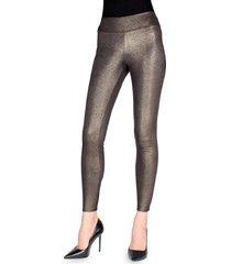 memoi women's metallic sheen shaping leggings - black gold - size l (10-12)/xl (14-16)
