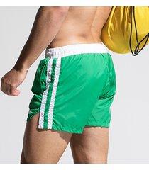 pantaloncini da spiaggia brevi da uomo in tessuto sintetico a rapida asciugatura a strisce