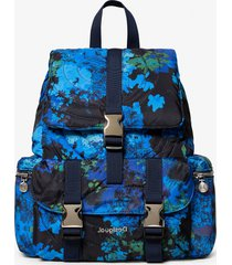 padded backpack with floral camouflage - blue - u