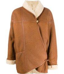 a.n.g.e.l.o. vintage cult 1980s shawl collar coat - brown