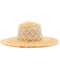 diamond grid pearl embellished straw hat
