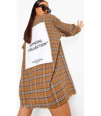 monochrome geruite oversized blouse jurk met rugopdruk, chocolate