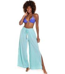 calça pantalona kalini beachwear com fenda rayon
