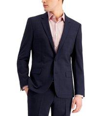 hugo men's slim-fit superflex stretch dark blue micro-plaid wool suit jacket