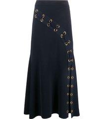 alexander mcqueen lattice ribbed knit skirt - blue