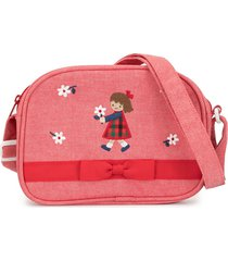 familiar printed bow detail shoulder bag - red