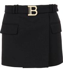 short belted grain de poudre skirt