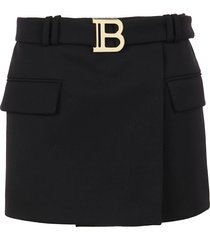 balmain belted mini skirt