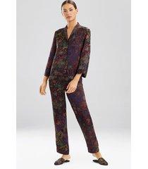 vintage floral pajamas, women's, black, silk, size m, josie natori