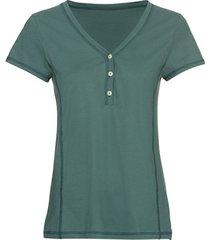 t-shirt van bio-katoen met knopen bij de v-hals, oregano 38