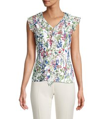 tommy hilfiger women's floral-print ruffled top - ivory multi - size xl