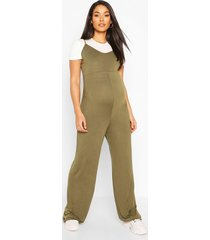 maternity 2 in 1 t-shirt jumpsuit, khaki