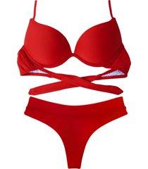 biquíni bojo bolha alça estreita divance calcinha fio dental cós duplo vermelho