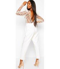 organza polka dot puff sleeve backless jumpsuit, white