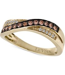 le vian chocolatier diamond crossover band (1/4 ct. t.w.) in 14k gold