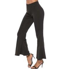 high waisted plain flared pants