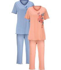 pyjama's per 2 stuks harmony apricot::lichtblauw