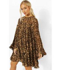 geplooide gesmokte luipaardprint jurk, brown