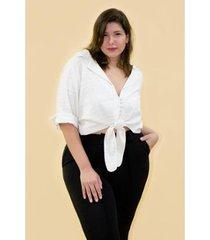 camisa kaue plus size eco stipe feminina