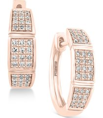 pave rose by effy diamond hoop earrings (1/4 ct. t.w.) in 14k rose gold