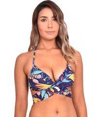 bikini estilo sostén cruzado estampado azul samia