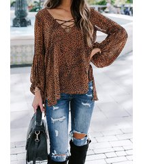 blusa de manga larga con cuello en v y diseño de lazo cruzado de leopardo