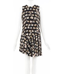 marni printed wool silk drop waist dress black/cream sz: xs
