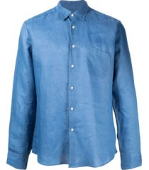 peninsula swimwear chest pocket detail curved hem shirt - blue