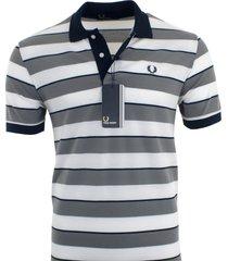 fred perry men's cotton pique polo shirt striped size s, m, l, xl, xxl