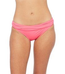 women's la blanca shirred banded hipster bikini bottoms, size 16 - pink