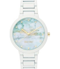 nine west women's white rubberized bracelet watch, 40.5mm