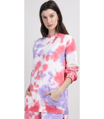 blusão de moletom feminino mindset estampado tie dye com capuz e bolso multicor