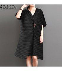 zanzea mujeres 3/4 manga ocasional de la raya del botón camisa de vestir con cuello en v vestido de midi asimétrico -negro