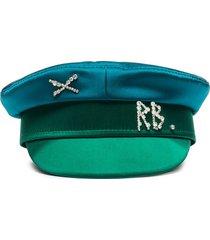ruslan baginskiy crystal-embellished baker hat - blue