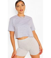 cropped t-shirt and shorts set, grey marl