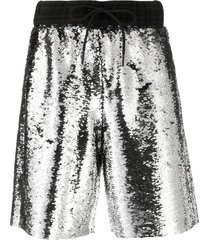 golden goose sequinned shorts - silver