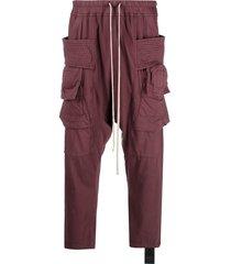 rick owens drkshdw burgundy cargo pants - red