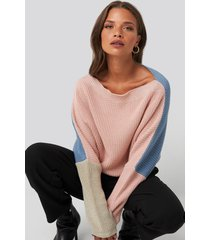 na-kd batwing cropped ribbed sweater - multicolor