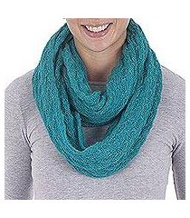 alpaca blend infinity scarf, 'fashionable andes in teal' (peru)