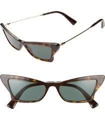 women's valentino 53mm cat eye sunglasses - havana/ gold/ green solid